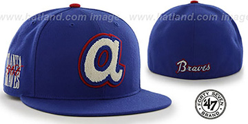 Braves COOP CATERPILLAR Royal Fitted Hat by 47 Brand
