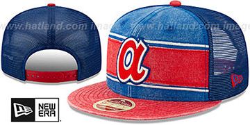 Braves COOP HERITAGE-BAND TRUCKER SNAPBACK Royal-Red Hat by New Era