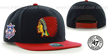 Braves COOP 'SURE-SHOT SNAPBACK' Navy-Red Hat by Twins 47 Brand