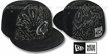Braves COOP VELVET PAISLEY Black Fitted Hat by New Era