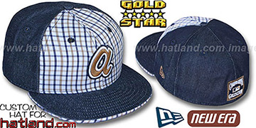 Braves COOPERSTOWN SPANKY Plaid-Navy Denim Fitted Hat by New Era