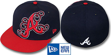 Braves 'DUBCHA' Navy-Red Fitted Hat by New Era