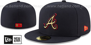 Braves GOLD METALLIC STOPPER Navy Fitted Hat by New Era