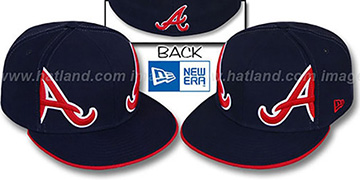 Braves MIRROR PANELCUT Navy Fitted Hat by New Era
