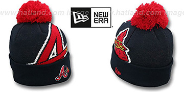 Braves 'MLB-BIGGIE' Navy Knit Beanie Hat by New Era