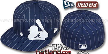 Braves 'MLB SILHOUETTE PINSTRIPE' Navy-White Fitted Hat by New Era