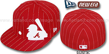 Braves 'MLB SILHOUETTE PINSTRIPE' Red-White Fitted Hat by New Era