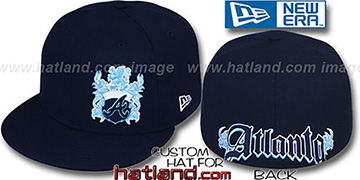 Braves 'OLD ENGLISH SOUTHPAW' Navy-Baby Blue Fitted Hat by New Era