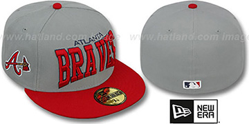 Braves 'PRO-ARCH' Grey-Red Fitted Hat by New Era