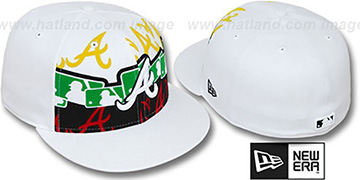Braves RASTA LAYERED White Fitted Hat by New Era