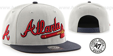 Braves 'SCRIPT-SIDE SNAPBACK' Grey-Navy Hat by Twins 47 Brand
