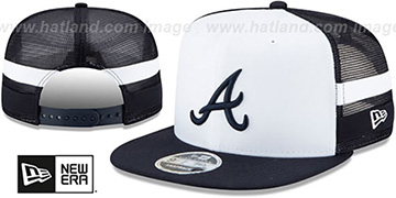 Braves SIDE-STRIPED TRUCKER SNAPBACK Hat by New Era