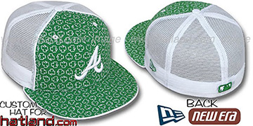 Braves 'ST PATS FLOCKING MESH-BACK' Kelly-White Fitted Hat by New Era