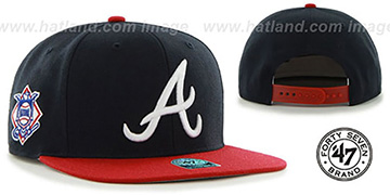 Braves 'SURE-SHOT SNAPBACK' Navy-Red Hat by Twins 47 Brand