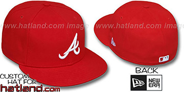 Braves 'TEAM BASIC'  Red-White Fitted Hat by New Era