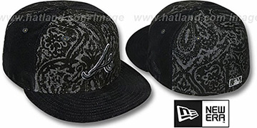 Braves 'VELVET PAISLEY' Black Fitted Hat by New Era