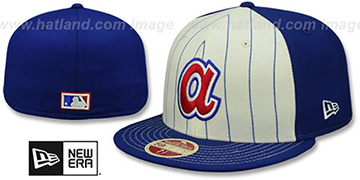 Braves VINTAGE-STRIPE White-Royal Fitted Hat by New Era