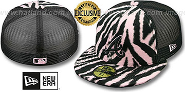 Braves ZEBRA ANIMAL-FUR MESH-BACK Fitted Hat by New Era