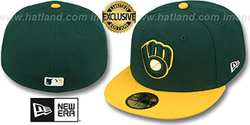 Brewers '2T OPPOSITE-TEAM' Green-Gold Fitted Hat by New Era