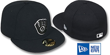 Brewers ALT 'TEAM-BASIC' Black-White Fitted Hat by New Era