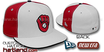Brewers COOPERSTOWN 'PINWHEEL' White-Red Fitted Hat