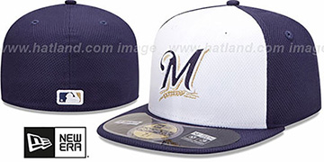 Brewers MLB DIAMOND ERA 59FIFTY White-Navy BP Hat by New Era
