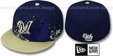 Brewers 'SPLATZ' Navy-Gold Fitted Hat by New Era