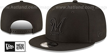 Brewers TEAM-BASIC BLACKOUT SNAPBACK Hat by New Era