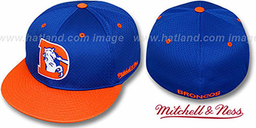 Broncos '2T BP-MESH' Royal-Orange Fitted Hat by Mitchell & Ness