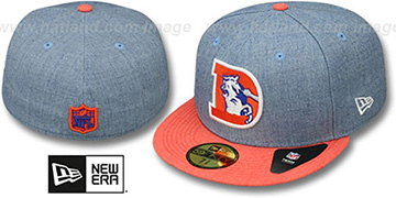 Broncos '2T-HEATHER ACTION' Blue-Orange Fitted Hat by New Era