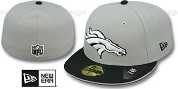 Broncos 2T SPLIT NFL TEAM-BASIC Grey-Black Fitted Hat by New Era