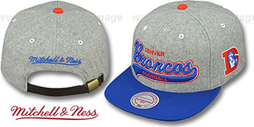 Broncos 2T TAILSWEEPER STRAPBACK Grey-Royal Hat by Mitchell & Ness