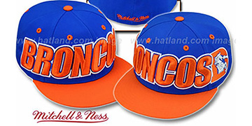 Broncos '2T WORDMARK' Royal-Orange Fitted Hat by Mitchell & Ness