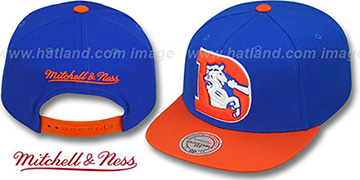 Broncos 2T XL-LOGO SNAPBACK 2 Royal-Orange Adjustable Hat by Mitchell & Ness