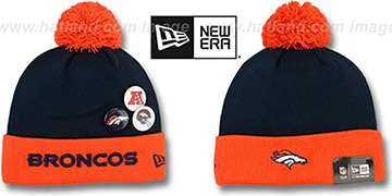 Broncos 'BUTTON-UP' Knit Beanie Hat by New Era