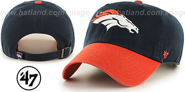 Broncos 'CLEAN-UP STRAPBACK' Navy-Orange Hat by Twins 47 Brand