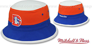 Broncos 'COLOR-BLOCK BUCKET' White-Orange-Royal Hat by Mitchell and Ness