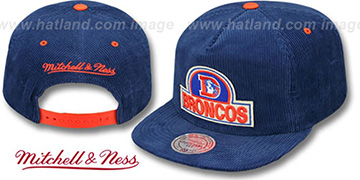 Broncos 'FELT-PATCH CORD SNAPBACK' Royal Hat by Mitchell and Ness