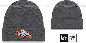 Broncos 'HEATHERED-SPEC' Grey Knit Beanie Hat by New Era