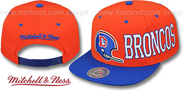 Broncos HELMET-WORDWRAP SNAPBACK Orange-Royal Hat by Mitchell and Ness