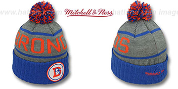 Broncos 'HIGH-5 CIRCLE BEANIE' Grey-Royal by Mitchell and Ness