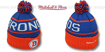 Broncos HIGH-5 CIRCLE BEANIE Royal-Orange by Mitchell and Ness
