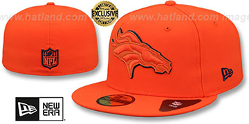 Broncos LEATHER POP Orange Fitted Hat by New Era