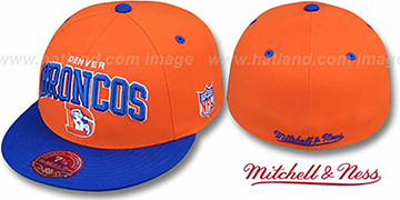 Broncos 'NFL 2T ARCH TEAM-LOGO' Orange-Royal Fitted Hat by Mitchell & Ness