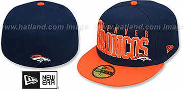 Broncos 'NFL 2T CHOP-BLOCK' Navy-Orange Fitted Hat by New Era