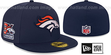 Broncos NFL 3X SUPER BOWL CHAMPS Navy Fitted Hat by New Era
