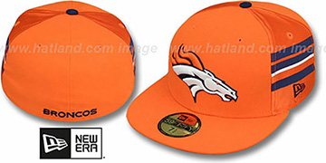 Broncos 'NFL JERSEY-STRIPE' Orange Fitted Hat by New Era
