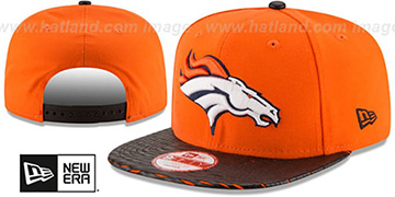 Broncos NFL LEATHER-RIP SNAPBACK Orange-Black Hat by New Era
