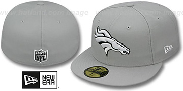 Broncos 'NFL TEAM-BASIC' Grey-Black-White Fitted Hat by New Era