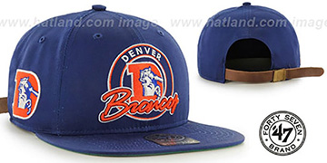Broncos 'NFL THROWBACK VIRAPIN STRAPBACK' Royal Hat by Twins 47 Brand